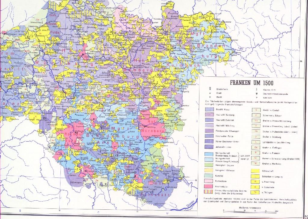 franken karte Karte Franken 1500
